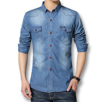 Men Cotton Shirts Men's Casual Slim Fit Long Sleeved Turn Down Collar Denim Jeans Shirts Camisa Masculina BL