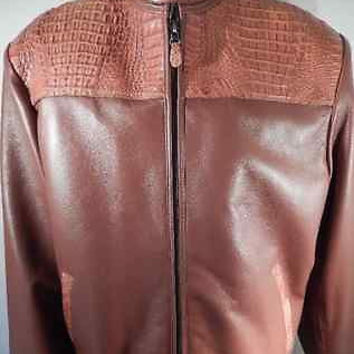Safari Cognac Horn-back Crocodile/Lamb Skin Jacket