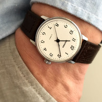 "Vintage Gent's Wristwatch ""SECONDA"". Mechanical Soviet men's watch, with lovely clean white dial. Comes with new leather band!"