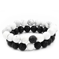 2Pcs Couples Distance Bracelet Bangle Lava Bead Matching Yin Yang Anniversary Gift-W128