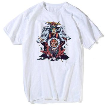 The Wolf Princess T-shirts Mens Short Sleeves Organic Anime Princess mononoke T Shirt womens summer tops and blouses
