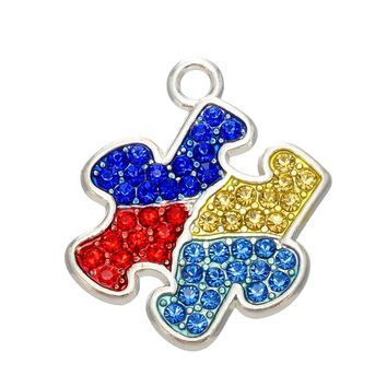 Shape Rhodium Multicolored Crystal Autism Awareness Bracelet Charms Puzzle Piece Jigsaw Pendant