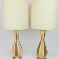 Mid Century Modern End Table Lamps Striped Yellow Brown White Ceramic Pair With Shades Excellent Condition Lighting Lights Set 2 Nightstand
