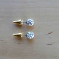 Gold spike & Rhinestone double sided earrings. Faux fauge. Stud earrings