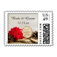 Rustic Poinsettia Woodland Winter Wedding Love Stamps