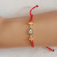 Evil eye jewelry, gold evil eye, christmas gift, zircon jewelry, red string bracelet, turkish jewelry, istanbul jewelry, best friend gift