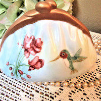 Banks Piggy Purse Coin Porcelain Ceramic Pottery Humming Bird Hand Painted BLM
