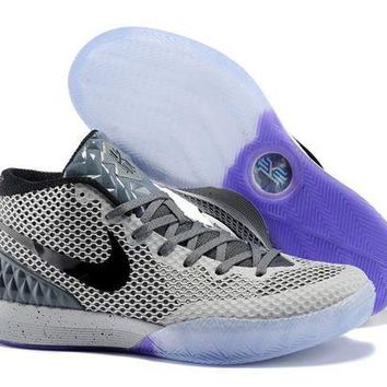 DCCKIJ2 Men's Nike Zoom Kyrie 1 Basketball Shoes Grey