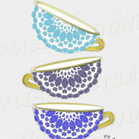 Blue White Gold Pretty Floral China Tea Cups Modern Wall Art  Decor Picture Poster Print Image  Kitchen Living Room  or Bedroom Wall Decor