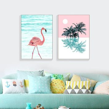 Pink Flamingo Canvas Prints Nordic Posters And Prints Canvas Painting Art Cuadros Decoracion Wall Art Poster Painting Unframed