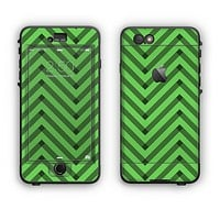 The Lime Green Black Sketch Chevron Apple iPhone 6 Plus LifeProof Nuud Case Skin Set