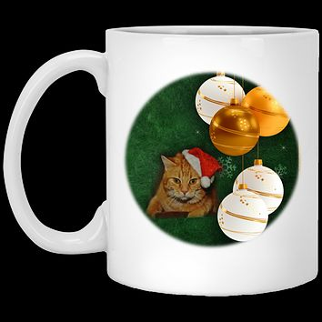 Christmas Gift Orange Tabby Cat In Santa Hat Coffee Mug 11 oz White Ceramic Cup