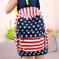College Hot Deal On Sale Stylish Comfort Back To School Navy Stripes Travel Casual Canvas Backpack [8070741063]