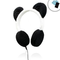 PANDAmonium Crocheted Panda Ear Stereo Headphones for Apple iPhone 5 , iPad Mini , iPod Touch and Many More Apple Products! ** Includes Accessory Bag and Microfiber Cloth! **:Amazon:Electronics