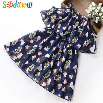 Sodawn 2018 Summer Chiffon Floral Dresses Princess Party Dress Teenage Children's Clothing Girls Clothes Print Design Baby Dress