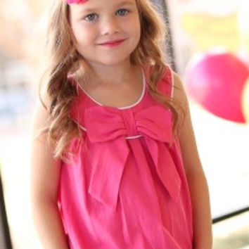 Kids Ruffle Butts Pink Sleeveless with Bow
