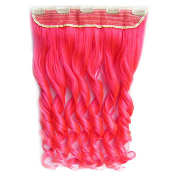 Colorful Straight Hair Extension 5 Clips Wig    Pink# pink