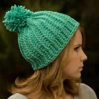 Mint Hat, Pom Beanie, Women's Crochet Green Ski Cap