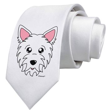 Cute West Highland White Terrier Westie Dog Printed White Neck Tie by TooLoud