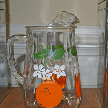 Vintage Anchor Hocking Orange Juice Pitcher with Ice Lip / Vintage Pitcher / Mid Century Glass Pitcher / Retro Pitcher / Chabby Chic