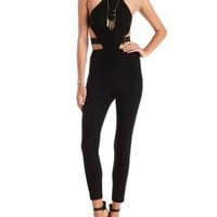 Black Caged Back Cut-Out Halter Jumpsuit by Charlotte Russe