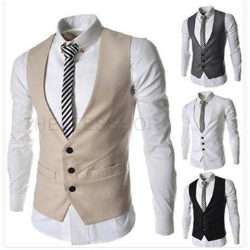 2018 New Arrival Dress Vests For Men Slim Fit Mens Suit Vest Male Waistcoat Gilet Homme Casual Sleeveless Business Jacket