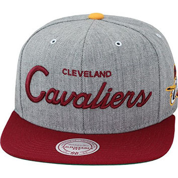Mitchell & Ness Special Script Road Cleveland Cavaliers Gray & Burgundy Snapback