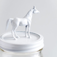 Classic White Horse Wide Mouth Mason Jar Topper - Cute Storage - Home Decor