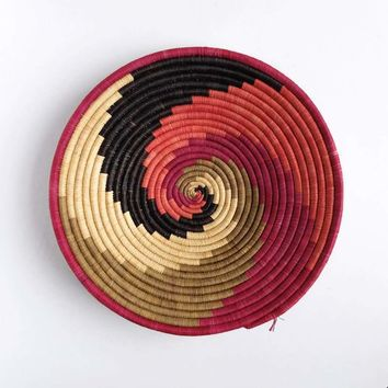 Pink, Coral, Grey and Black Swirl Basket from Rwanda