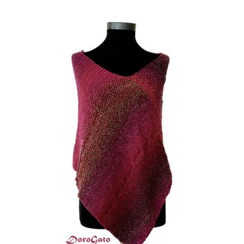 Knit wool poncho, red poncho sweater, knitted wrap, trend knitwear, knit poncho, wool wrap, multicolor trend