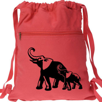 Elephants Backpack Mom and Baby Canvas Drawstring Bag