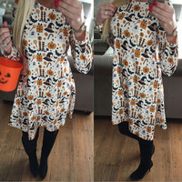 White Lantern and Gift Print Long Sleeve Dress