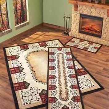 3-Pc Primitive Houses Rug Set Accent Rug Runner & Area Rug Country Home Decor