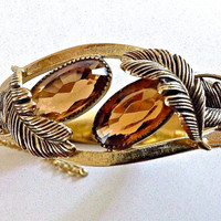 Whiting & Davis Hinged Bracelet Topaz Glass Feather Vintage Bangle