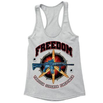 XtraFly Apparel Women's Freedom Firepower Rifle 2nd Amendment Racer-back Tank-Top