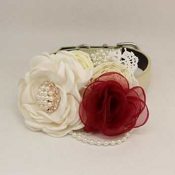 Patience Ivory Burgundy Flower dog collar, Pet wedding accessory, Pearls Rhinestone