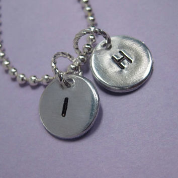 Two Custom Hand Stamped Personalized Initial Charms and Necklace