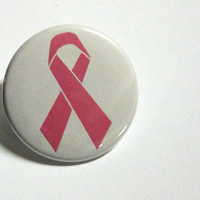 Pink Ribbon Pinback Button by BayleafButtons on Etsy