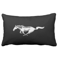 Ford Mustang Horse on Black Lumbar Pillow
