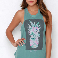 O'Neill Pineapple Portrait Sage Green Muscle Tee