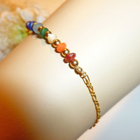 "14k Gold-Filled Jade Chakra Bar Bracelet, Rainbow Meditation Healing Bracelet, 14"", 15"", 16"", 17"", 18"" and Custom Lengths"