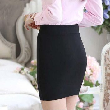 PEAPYV3 1 pc 2016 spring and summer Women Skirt  High Waist Pencil Skirts Elastic Slim Office  Black  Skirt Two styles