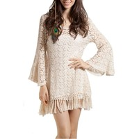 LookbookStore Chic Crop Sleeve White Embroidery Floral Lace Fring Hem Crochet Mini Short Dress US 4