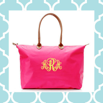 Monogram Tote Bag - Longchamp inspired - Makes a great bridesmaid gift, bridal party gift