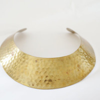 Vintage Wide Hammered Brass Collar Necklace