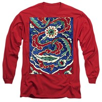 An Ottoman Iznik Style Floral Design Pottery Polychrome, By Adam Asar, No 24a - Long Sleeve T-Shirt