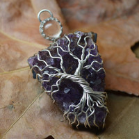 Amethyst Tree of Life Pendant Wire Wrapped Amethyst Druzy and quartz Crystal Necklace Jewelry Metaphysical Purple Sterling Silver