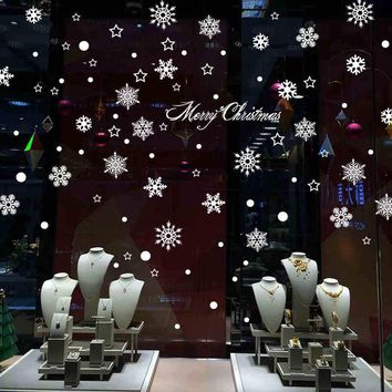 New Year Merry Christmas Decoration Snowflake  Wall Stickers Shop Window Stickers Glass Tea Shop Sticker Home Decor Decal Mural