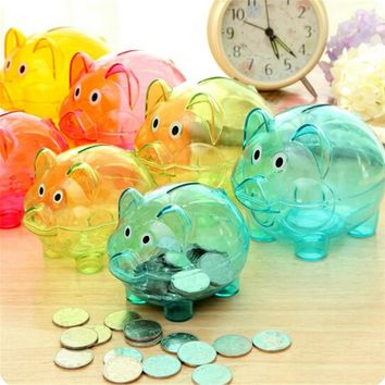New Transparent Plastic Money Saving Box Case Coins Piggy Bank Cartoon Pig Shaped