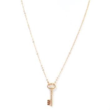 Lock It Up Key Necklace In Gold